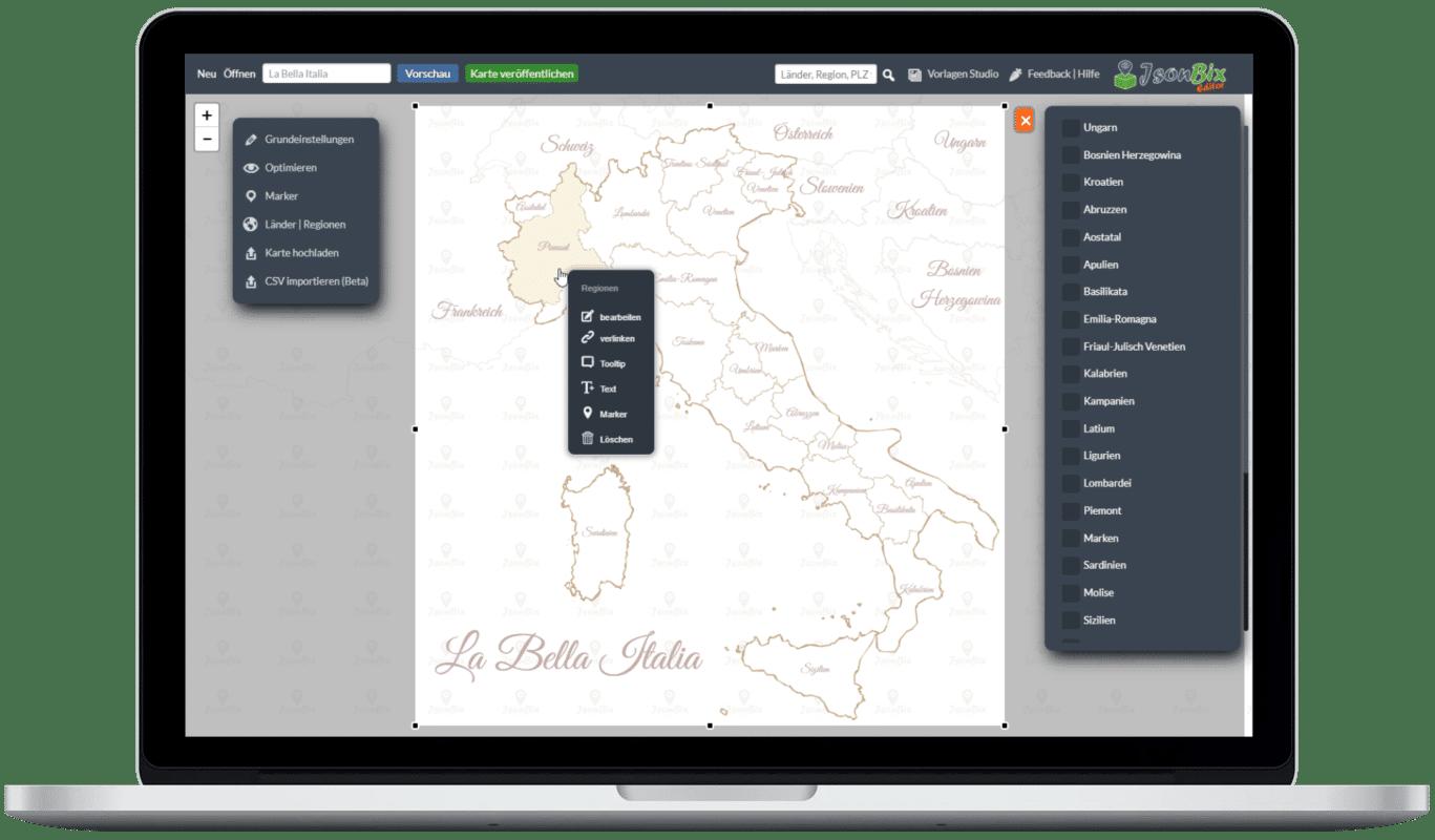 Jsonbix Editor Screenshot Italien besondere Schrift