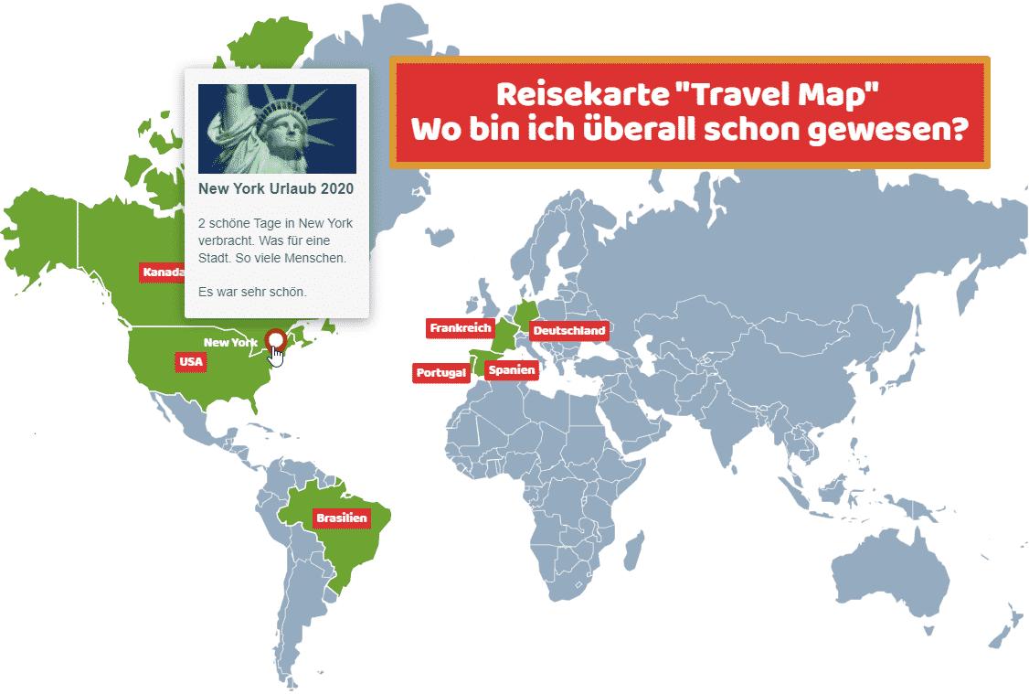 Reisekarte Travel Map wo bin ich gewesen Karte