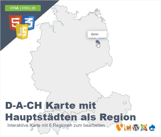D-A-CH Karte Hauptstädte als Region