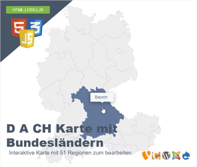 D A CH Karte mit Bundesländern