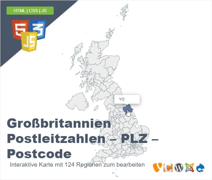 Großbritannien Postleitzahlen – PLZ – Postcode