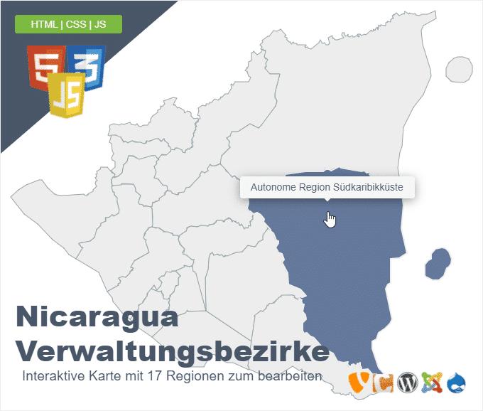 Nicaragua Verwaltungsbezirke