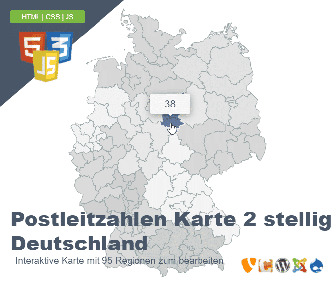 Postleitzahlen Karte 2 stellig Deutschland