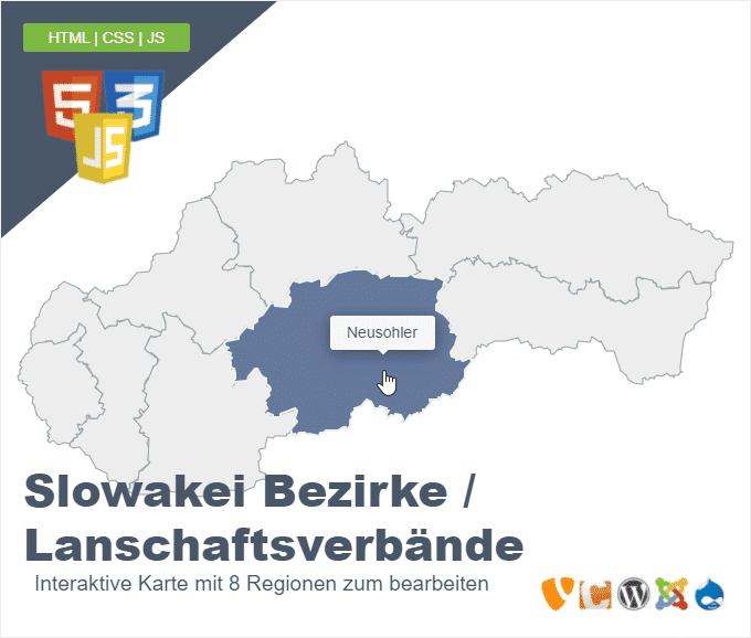 Slowakei Bezirke Lanschaftsverbände