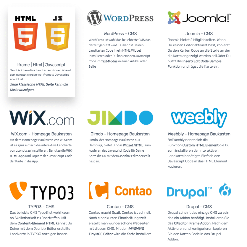 kompatible Plattformen Jsonbix
