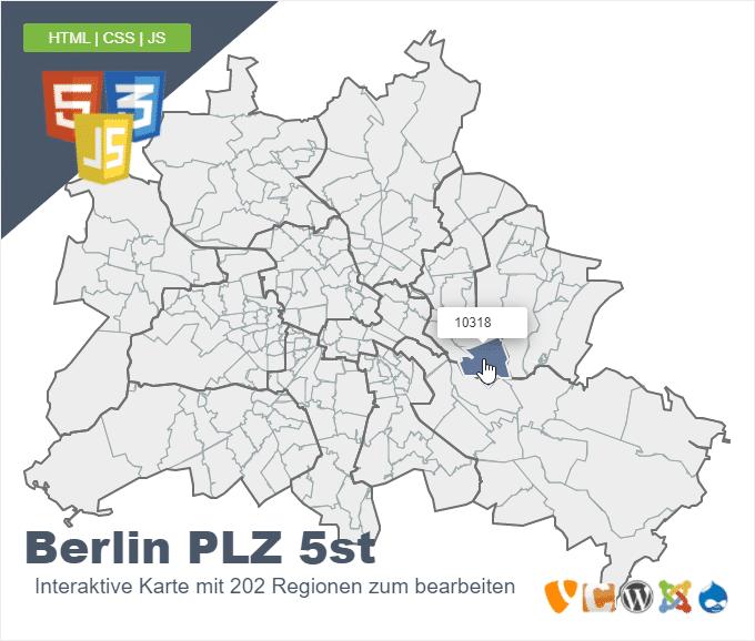 Berlin Postleitzahlen - PLZ 5 stellig