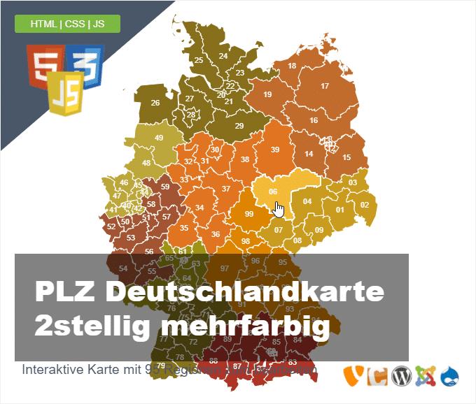 Deutschlandkarte Postleitzahlen PLZ 2stellig mehrfarbig