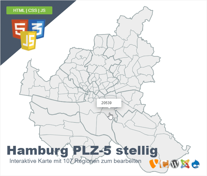Hamburg Postleitzahlen PLZ 5 stellig
