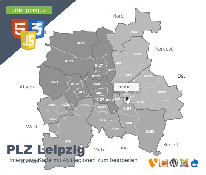 Leipzig Postleitzahlen Karte 5 stellig
