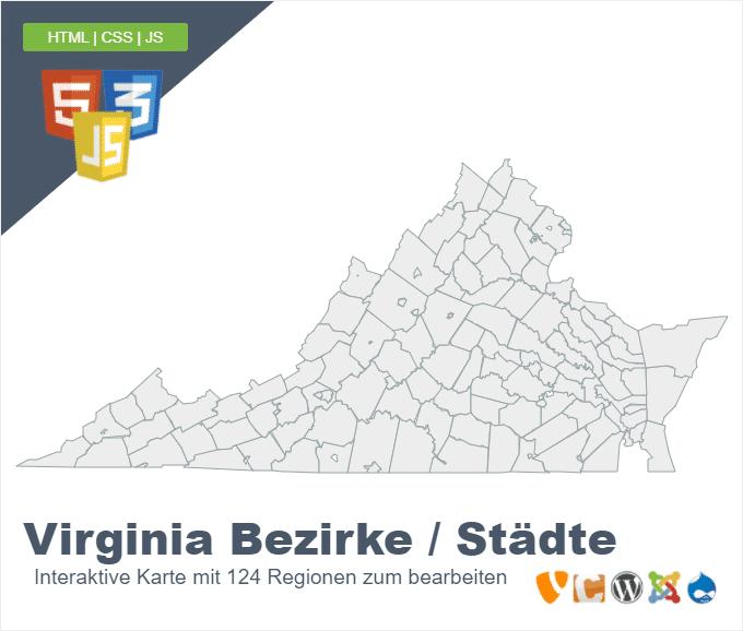 Virginia Bezirke und Städte