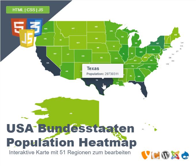 USA Bundesstaaten Population Heatmap